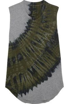 Raquel Allegra - Tie-dyed Cotton-blend Jersey Tank - Green -