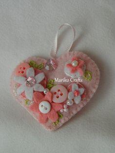 Felt Heart Keychain Rose Pink, felt ornament, handmade keychain, embroidered felt heart