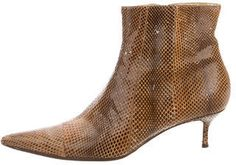 Tan snakeskin Dolce & Gabbana pointed-toe ankle boots with gold-tone hardware, covered heels and zip closures at insteps. Golden Shoes, Rib Cage, Shoe Collection, Snake Skin, Cowboy Boots, Kitten Heels, Ankle Boots, Booty, Legs