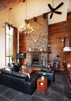 salon avec foyer en coin et t l vision les foyers au gaz. Black Bedroom Furniture Sets. Home Design Ideas