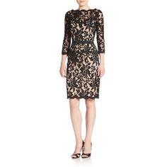 Tadashi Shoji Belted Lace Sheath Dress ($269) ❤ liked on Polyvore featuring dresses, sheath dress, lacy dress, belted lace dress, tadashi shoji and lace sheath dress