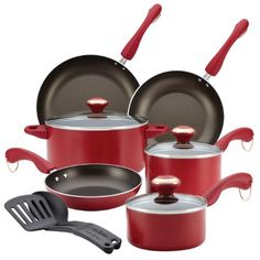 I bought this cookware set as a gift for my mother's birthday. After a couple weeks of using, we really like this set. The set comes with a lid for everything except the largest frying pan. That's the only downfall about this product. The set is a bit pricey, but you get a solid set of pots and pans. They are nonstick and work phenomenal, are easy to clean, and happen to be very durable as well.I recommend this product for anyone in search of new cookware.