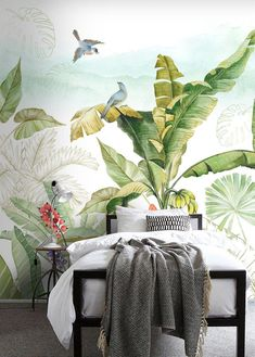 Tropical Flowers and Bird Wallpaper Floral Wall Mural Modern Home Decor For Living Room Bedroom Entryway Cafe Normal Wallpaper, Bird Wallpaper, Tropical Flowers, Tropical Plants, Floral Flowers, Living Room Bedroom, Living Room Decor, Rainforest Plants, Oil Painting Background