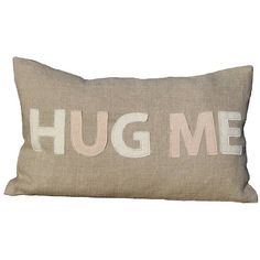 Lime Tree London Engagement/Wedding Special 'Hug Me' Linen Throw... (£18) ❤ liked on Polyvore featuring home, home decor, throw pillows, quote throw pillows and linen throw pillows