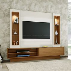 Painel para TV até 47 Polegadas Belo Vale com Led Branco Brilho Off-White e Freijo Tv Stand Modern Design, Modern Tv Unit Designs, Modern Tv Wall Units, Tv Stand Designs, Living Room Tv Unit Designs, Modern Tv Room, Modern Closet, Bedroom Modern, Modern Living