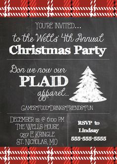 Need a super cute Christmas party invitation? Check out this plaid theme. Invite your guests for a night of stylish fun. This listing is for a