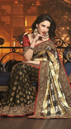 Tamannaah Bhatia In Black Half And Half Saree 2FD3358969