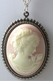 Antique cameo jewelry antique 3 ladies cameo necklacepin cameo necklace pink and silver cameovintage pink and silver cameo necklace mozeypictures Image collections