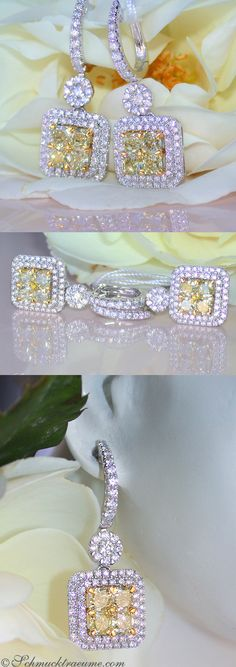 Noble Yellow&White Diamond Earrings, 2,62 ct. WG18K - Visit: schmucktraeume.com - Like: https://www.facebook.com/pages/Noble-Juwelen/150871984924926 - Mail: info@schmucktraeume.com