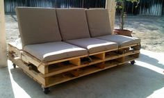 Super easy, super cute but costs about the same as a new outdoor couch with materials.  Pallet Couch!