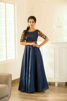 Navy Blue Color Georgette Embroidered Floor Length Designer Anarkali Gown Product Details : Merge tradition and modern fashion in this navy blue color floor length anarkali gown. Crafted of georgette and georgette fabric this beautiful gown comes wit Indian Gowns, Indian Attire, Indian Outfits, Indian Wear, Silk Anarkali Suits, Anarkali Gown, Lehenga, Long Anarkali, Designer Gowns