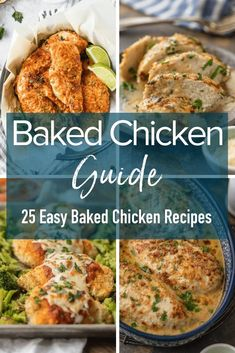 This Baked Chicken Guide will answer all of your questions about making the best baked chicken plus 25 easy baked chicken recipes to inspire your next easy chicken dinner! Easy Baked Chicken, Easy Chicken Dinner Recipes, Chicken Parmesan Recipes, Baked Chicken Breast, Healthy Chicken Recipes, Easy Meals, Cooking Recipes, Turkey Recipes, Roast Chicken