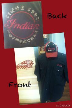 Black Button Down Indian Work Shirt * Black & Red Indian Baseball Cap
