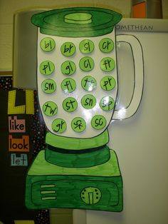 put the blends in the blender and have children take them out and put it on the correct word.