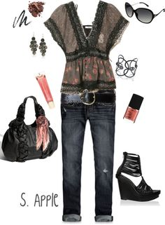 """""""Black Lace & Floral Top"""" by sapple324 ❤ liked on Polyvore"""
