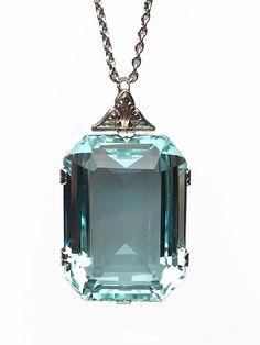 Lippa's Estate and Fine Jewelry - Platinum Art Deco Aquamarine Pendant, $6,500.00 (http://lippas.com/platinum-art-deco-aquamarine-pendant/)