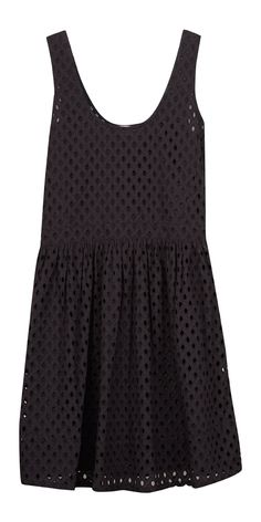 All-over eyelet with a cinched waist and feminine flared skirt. We love it!