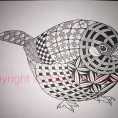 And now for the Finch! #zentangle #dubbybydesign #zentangleinspiredart #inkdrawing #finch #benkwok #ornationcreation