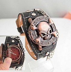 vakantie verkoop groothandel koele schedel met koperen deksel ontwerp lederen band mannen sport horloge mode quartz horloge