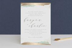 """Tide"" - Bohemian, Beach Foil-pressed Wedding Invitations in Ocean by Carolyn Nicks."
