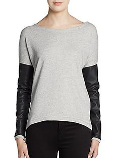 Contrast Sleeve Hi-Lo Sweatshirt ... Saks Off 5th has an e-commerce site!