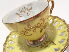 Royal Sealy Teacup Yellow Teacup with Reticulated Saucer