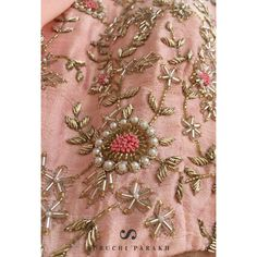 The devil is in the details.Gown in peach brings summer hues having dainty zardosi work with pearl details and prominent mirror neckline . Now available at our Flagship Store at . For further details DM us or Whatsapp us on 95371 65033 . Wedding Embroidery, Hand Work Embroidery, Couture Embroidery, Embroidery Suits, Embroidery Fashion, Hand Embroidery Designs, Zardosi Embroidery, Beaded Embroidery, Indian Embroidery