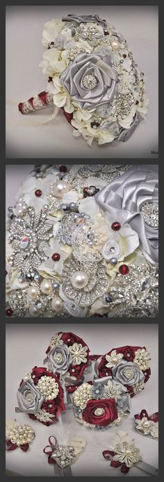 Couture Rose Bouquet in burgandy and silver with handmade flowers using Lace  - exquisite!