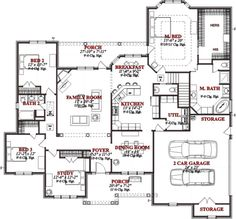 Main Floor Plan - good plan! Rotate garage 90 degrees clockwise, shift kitchen to delete breakfast nook and open dining room to kitchen / living room if possible.