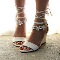 Ladies Ivory Wedge shoes and anklets. Sold as by ForeverSoles