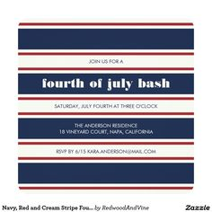 Navy, Red and Cream Stripe Fourth of July Party Card 4th Of July Party, Fourth Of July, Backyard Pool Parties, Let Freedom Ring, Create Your Own Invitations, Hostess Gifts, Color Combos, Party Invitations, Red