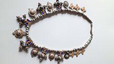 Vintage silver enamel Moroccan tribal ethnic Berber Tuareg crosses and pendants necklace. door tribalgallery op Etsy