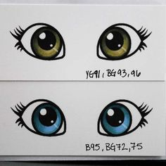 Hazel and blue eye color tutorial using Copic Markers