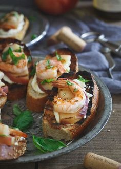 Whipped Lemon Burrata Crostini with Grilled Shrimp and Peaches. The perfect summer appetizer for your BBQ. #noblevinesdines #ad