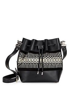 Proenza Schouler PS1 Tiny Geometric Print & Leather Bucket Bag - Black
