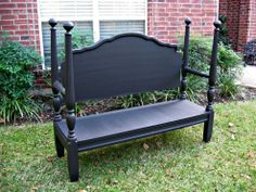 """Completed Headboard Bench ..""""My husband thought I was crazy when I told him I PAID for this bed at a junk store. I had other plans in mind, and now we have sleek black additional seating just in time for the holidays!"""""""