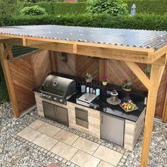 Outdoor Kitchen Countertops, Outdoor Kitchen Bars, Backyard Kitchen, Outdoor Kitchen Design, Backyard Bbq, Backyard Pools, Backyard Landscaping, Kitchen Decor, Landscaping Ideas