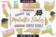 Gold & Watercolor States Graphic Set by Clipart Brat Graphics on @creativemarket