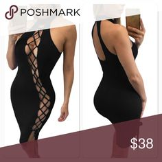 NewLondon Fashion Dress Black Hot Stylish Bodycon Fit Party-style Sexy Lace Up Halter Midi Dress- Material: Polyester Dresses