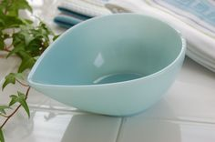 Fire King Teardrop Bowl Turquoise Blue-I just got my hands on one of these. I might have to start a new collection.