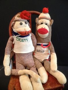 Scott and Whit  Vintage Sock Monkey by manymonkeys on Etsy