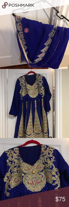 Heavy embroidered electric blue with gold work Anarkali set in a beautiful blue with heavy embroidery in gold thread Other Gold Work, Electric Blue, Anarkali, Blue Gold, Embroidery, Best Deals, Closet, Beautiful, Things To Sell