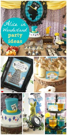 An Alice in Wonderland boy birthday party with a Mad Hatter tea party and a woodland feel!  See more party planning ideas at CatchMyParty.com!