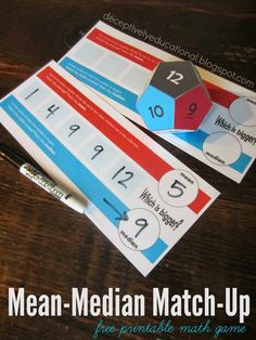 Relentlessly fun deceptively educational four before three free relentlessly fun deceptively educational mean median match up free printable game fandeluxe Image collections