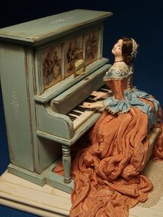 Musical automata doll by Gale Elena Bantock, 12th scale miniaturist and model maker, http://www.galebantock.co.uk [1st of two pins]