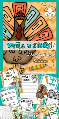 Thanksgiving Write a Story ~ Writing and Literacy center for the holidays!  Students will practice writing stories using inspiring graphics.  TeacherKarma.com #writing #Thanksgiving
