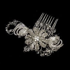 Antique Silver Swarovski Crystal & Rhinestone Flower Bridal Wedding Hair Comb in Clothing, Shoes & Accessories, Wedding & Formal Occasion, Bridal Accessories Vintage Hair Accessories, Hair Accessories For Women, Wedding Hair Accessories, Jewelry Accessories, Crown Hairstyles, Wedding Hairstyles, Bridal Hairstyle, Braided Hairstyles, Crystal Rhinestone