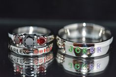 Harley and Joker Rings, Black Diamond CZ and Garnet CZ, Complete 3 Piece Wedding set Joker & Harley Quinn Wedding Comic Villains inspired by LawrenceCustoms on Etsy https://www.etsy.com/listing/271548906/harley-and-joker-rings-black-diamond-cz --Be your own Whyld Girl with a wicked tee today! http://whyldgirl.com/tshirts