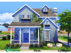 Charming country style family home featuring three bedrooms, two bathrooms, kitc… Lotes The Sims 4, Sims Four, Sims 3, Sims 4 House Plans, Sims 4 House Building, Sims 4 Family, Sims 4 House Design, Casas The Sims 4, Sims 4 Build