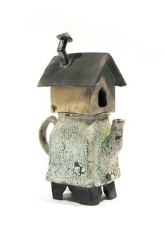 Duplex - Dave Lovejoy - Duplex   A slipcast creamer lidded with a handbuilt birdhouse, raku-fired.
